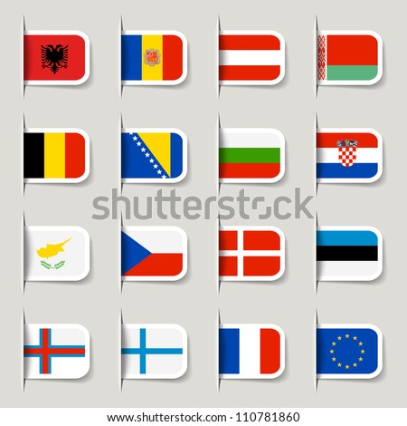 Label - European Flags - stock vector