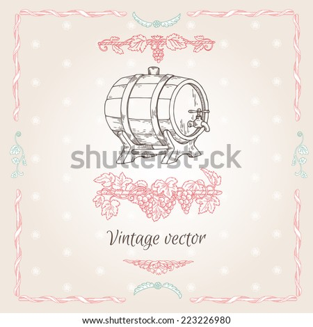 label for a barrel of wine, glasses and a bunch of grapes - stock vector