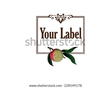 Label for a peach product - stock vector