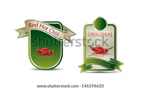 Label for a product (chili sauce) with photo-realistic vector illustration of vegetables.