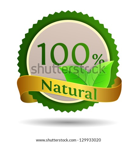 Label for natural products. Vector illustration. - stock vector