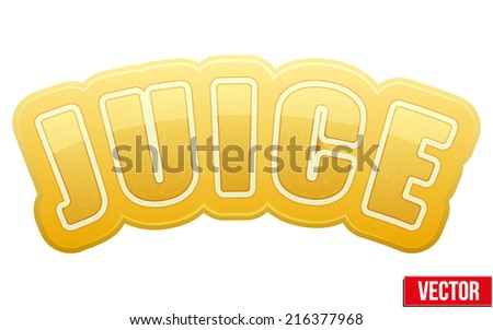 Label for pineapple juice. Bright premium quality design. Editable Vector Illustration isolated on white background. - stock vector
