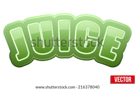 Label for spinach juice. Bright premium quality design. Editable Vector Illustration isolated on white background. - stock vector