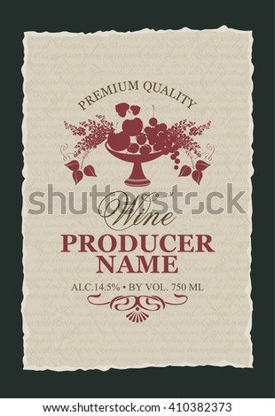 label for wine with a bowl of fruit and lilac