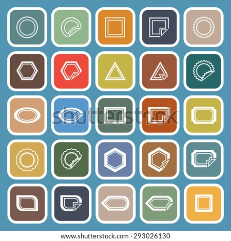 Label line flat icons on blue background, stock vector - stock vector