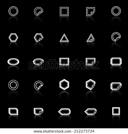 Label line icons with reflect on black background, stock vector - stock vector