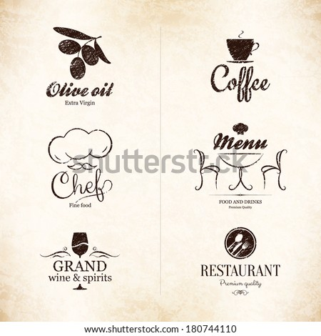 Label, logo set for restaurant, cafe, bar, coffee house - stock vector