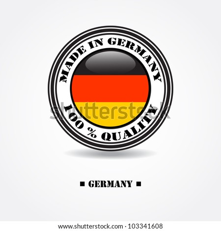"""Label """"made in Germany 100% quality"""" with Germany flag in rubber stamp - stock vector"""