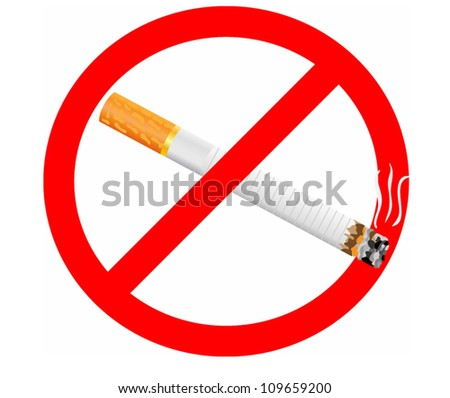 label - no cigarette - stock vector