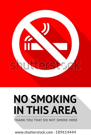 Label No smoking sticker, flat vector illustration - stock vector