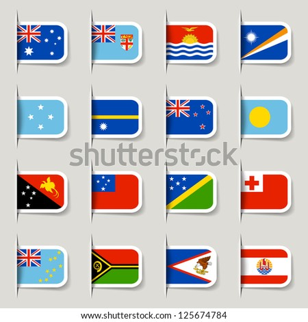 Label - Oceanian Flags - stock vector
