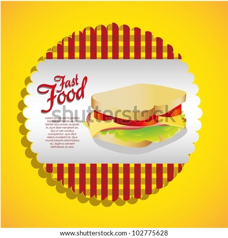 label of a sandwich on a checkered background, vector illustration - stock vector