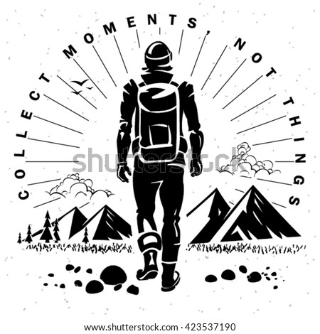 Label on the topic travelling. Engraving style - stock vector