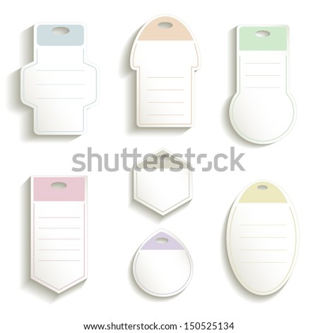Label paper 3D color card vector ticket - stock vector