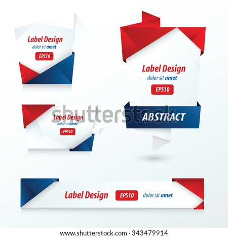 Label, Ribbon Origami Style, red, blue color - stock vector