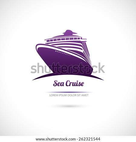 Label Sea cruise. Ocean liner. - stock vector
