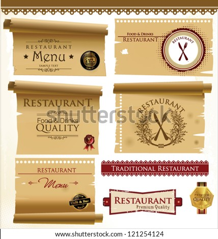 Label set for restaurant and cafe - stock vector