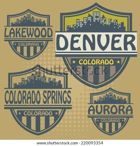 Label set with names of Colorado cities, vector illustration