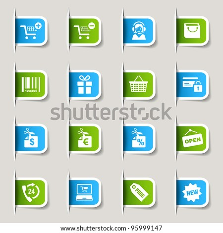 Label - Shopping icons - stock vector