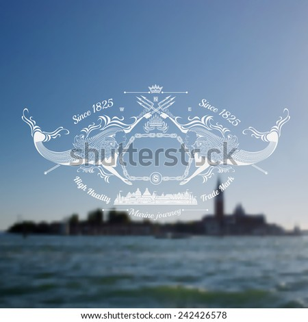 label two mermaids with trident on venice realistic blur background - stock vector