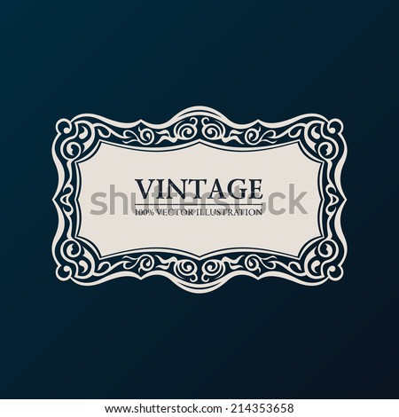 Label vector framework. Vintage banner decor ornament - stock vector