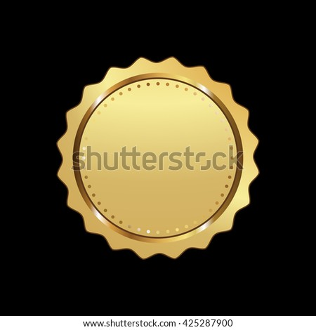 Label vector icon gold color on black background. Ribbon isolated shapes illustration of gift and accessory. Christmas sticker and decoration for app and web. Banner, badge and borders collection. - stock vector