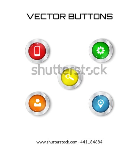 label. Vector modern colorful web buttons set on white background.search contact point settings smartphone icon