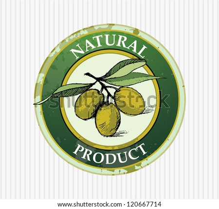 Label vector olives - stock vector