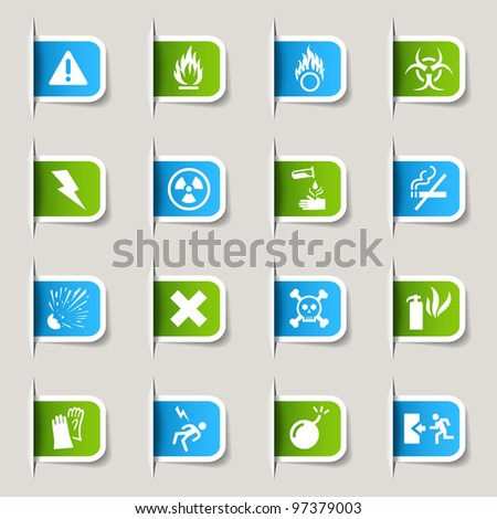Label - Warning icons - stock vector