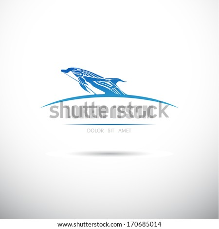 Label with a dolphin. Vector. - stock vector