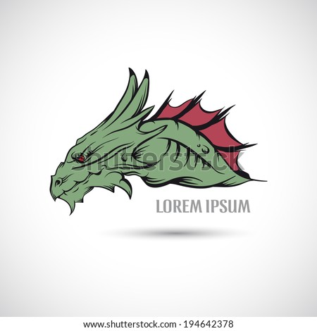 Label with a dragon's head. - stock vector