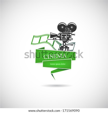 Label with a film camera for the movie. Vector. - stock vector
