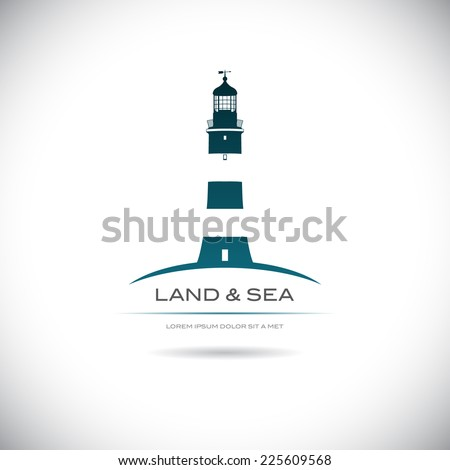 Label with a picture of the lighthouse - stock vector