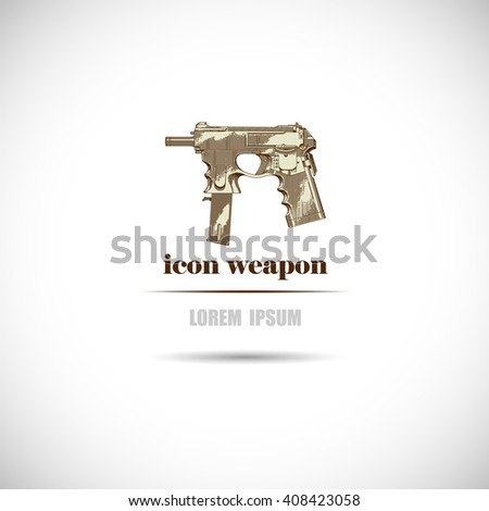 Label with a weapon icon.  - stock vector