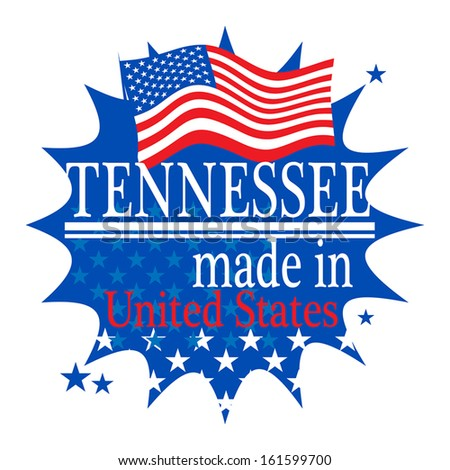 Label with flag and text Made in Tennessee, vector illustration - stock vector