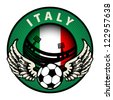 Label with football and name Italy, vector illustration - stock vector