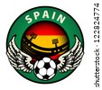 Label with football and name Spain, vector illustration - stock vector
