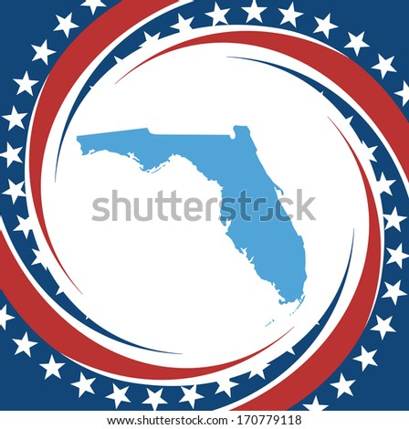 Label with map of Florida, vector - stock vector