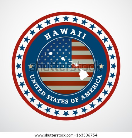 Label with map of Hawaii, vector