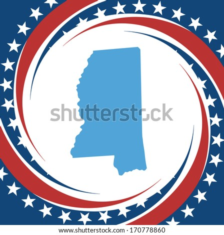 Label with map of Mississippi, vector - stock vector