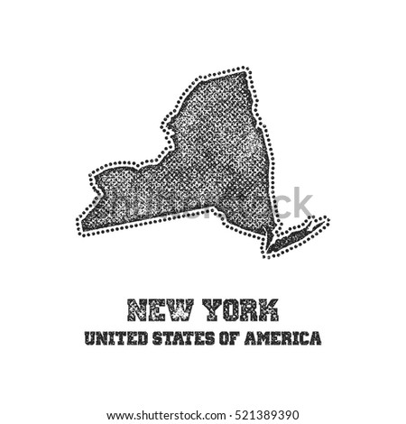 Label with map of new york. Vector illustration.