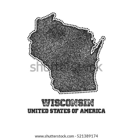 Label with map of wisconsin. Vector illustration.