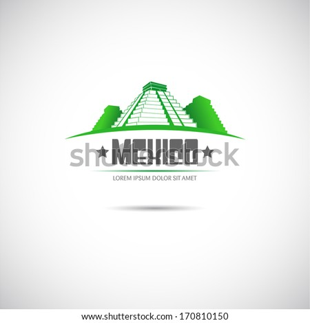 Label with Mayan pyramid. Mexico. Vector. - stock vector