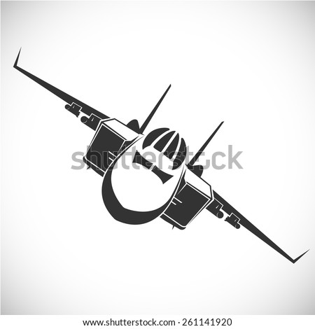 Label with military aircraft. Vector. - stock vector