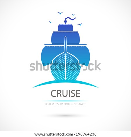 Label with sailing. Sea cruise. Vector. - stock vector