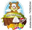 label with sweets and lickerish bear - stock vector