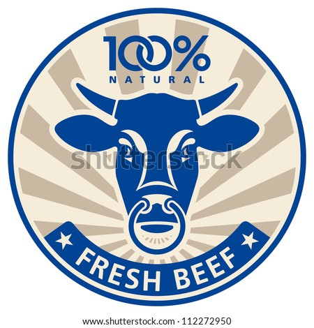 Label with the head of a bull, vector illustration - stock vector