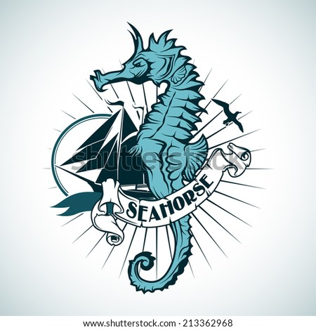 Label with the image of a seahorse. Nautical theme. - stock vector