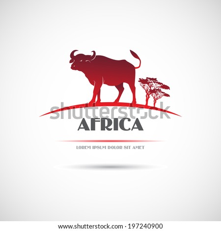 Label with the image of an African buffalo. Vector. - stock vector