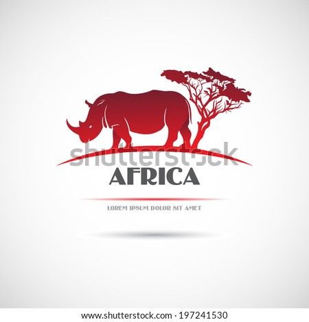Label with the image of the African rhinoceros. Vector. - stock vector